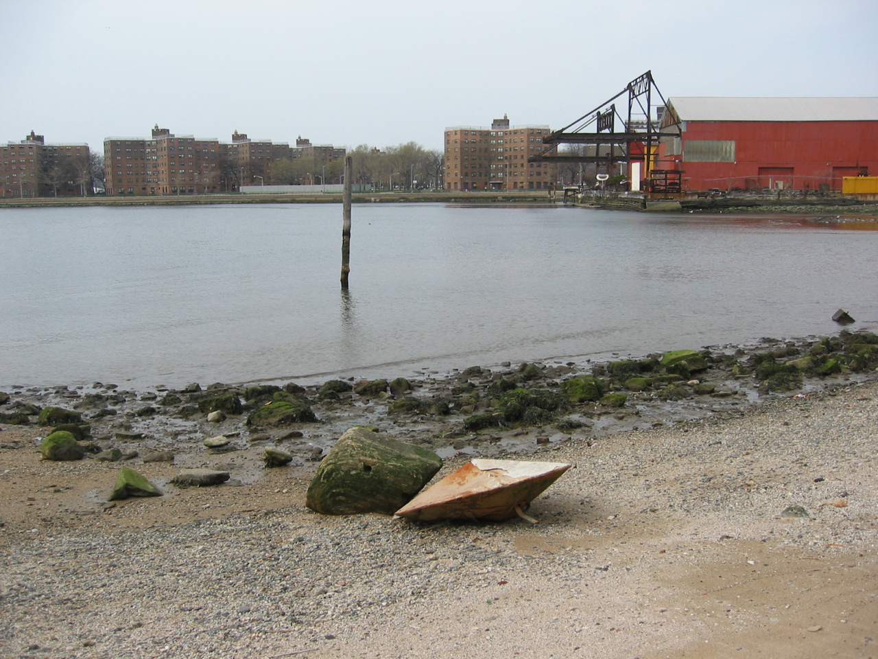 Flying saucer, 3:02pm, April 18, 2004. Near Socrates Sculpture Park, Long Island city. (We usually imagine aliens to be somewhat human-sized, but this proves differently.)