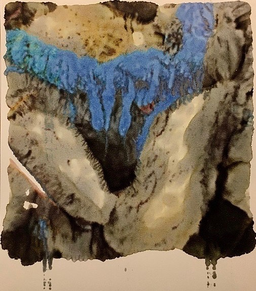 Photo Monoprint. Ship's rope found on shoreline of Governor's Island. Inks bleeding through surface tension, crossing borderlines and boundaries.