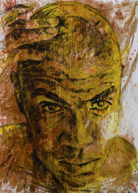 man with hole in head 2012 60 x 44  mixed media rag paper