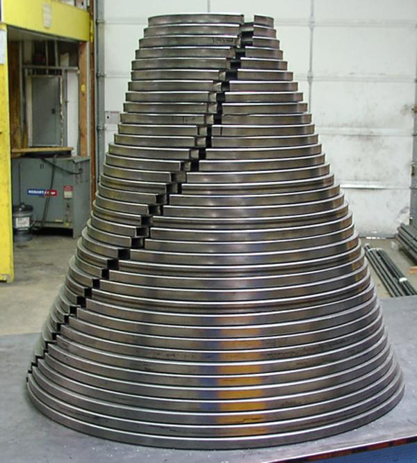 rings (in process) 2010 144 x 52 base varied dimensions steel