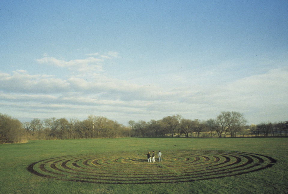 labyrinth 2001 200 ft diameter  burned grass connemara dallas texas