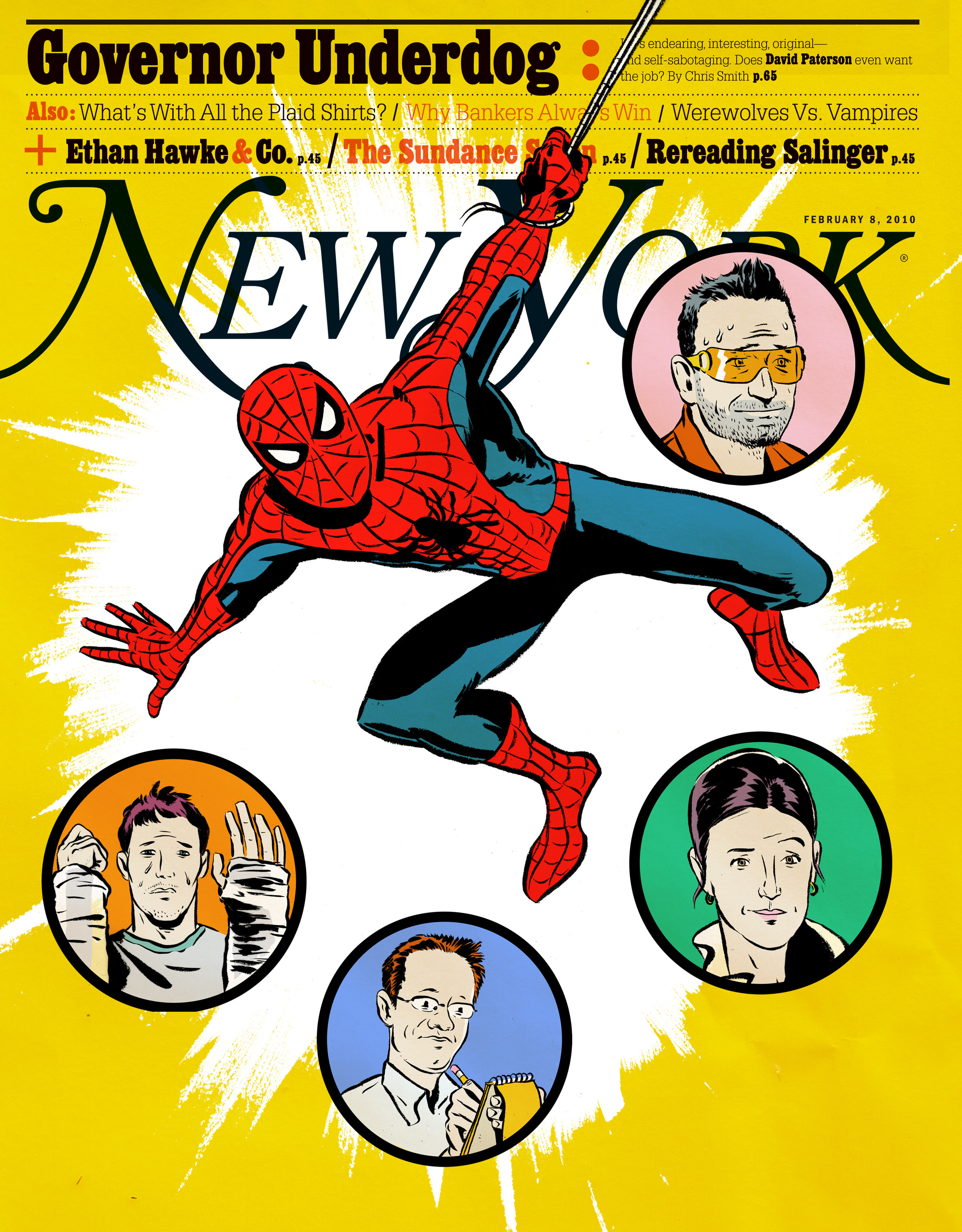 New York Magazine : Cover illustration for feature about the troubles plaguing the Spider Man on Broadway. (Sadly, it did not run)