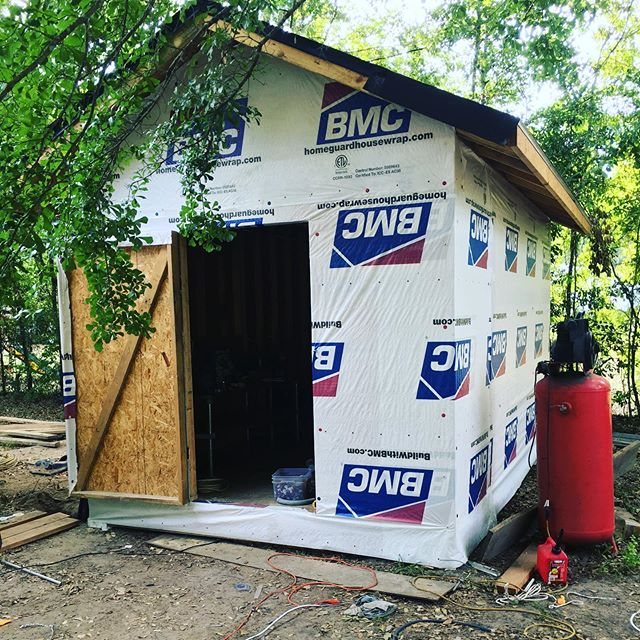 We love to repurpose everything. Even our own buildings are made from recycled materials. This shed is built from all the contents that come thru our gates. #recycle #trashistreasure #construction #wasterecycling #savannahgeorgia #materialrecoveryfacility