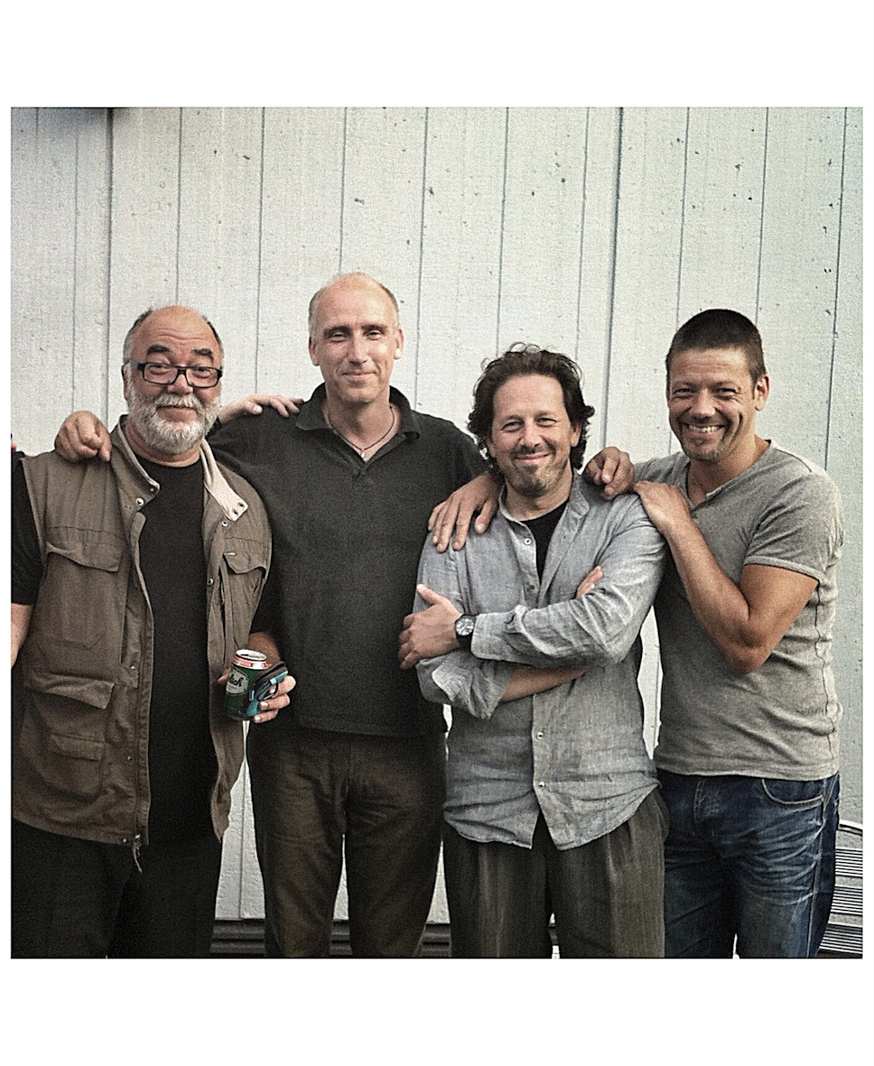 "Backstage at the North Sea Jazz Festival 2012 after performing ""Nights on Earth"" with Vince Mendoza a  nd the Metropole Orchestra. From L to R: Peter Erskine, Murk Jiskoot, Marcio Doctor and Frank Wardenier."