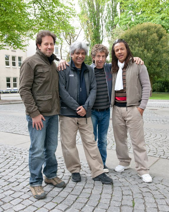 "Taking a break outside the studio during the recording of the album ""21 Spices"" with Trilok Gurtu, Simon Phillips and Michel Alibo."
