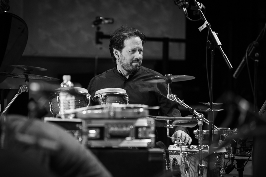 """During soundcheck for the """"Celebrating Jaco"""" Tour with the Scottish National Jazz Orchestra. Photo by Derek Clark ©"""