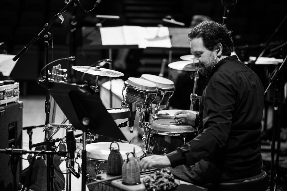 "During soundcheck for the ""Celebrating Jaco"" Tour with the Scottish National Jazz Orchestra. Photo by Derek Clark ©"