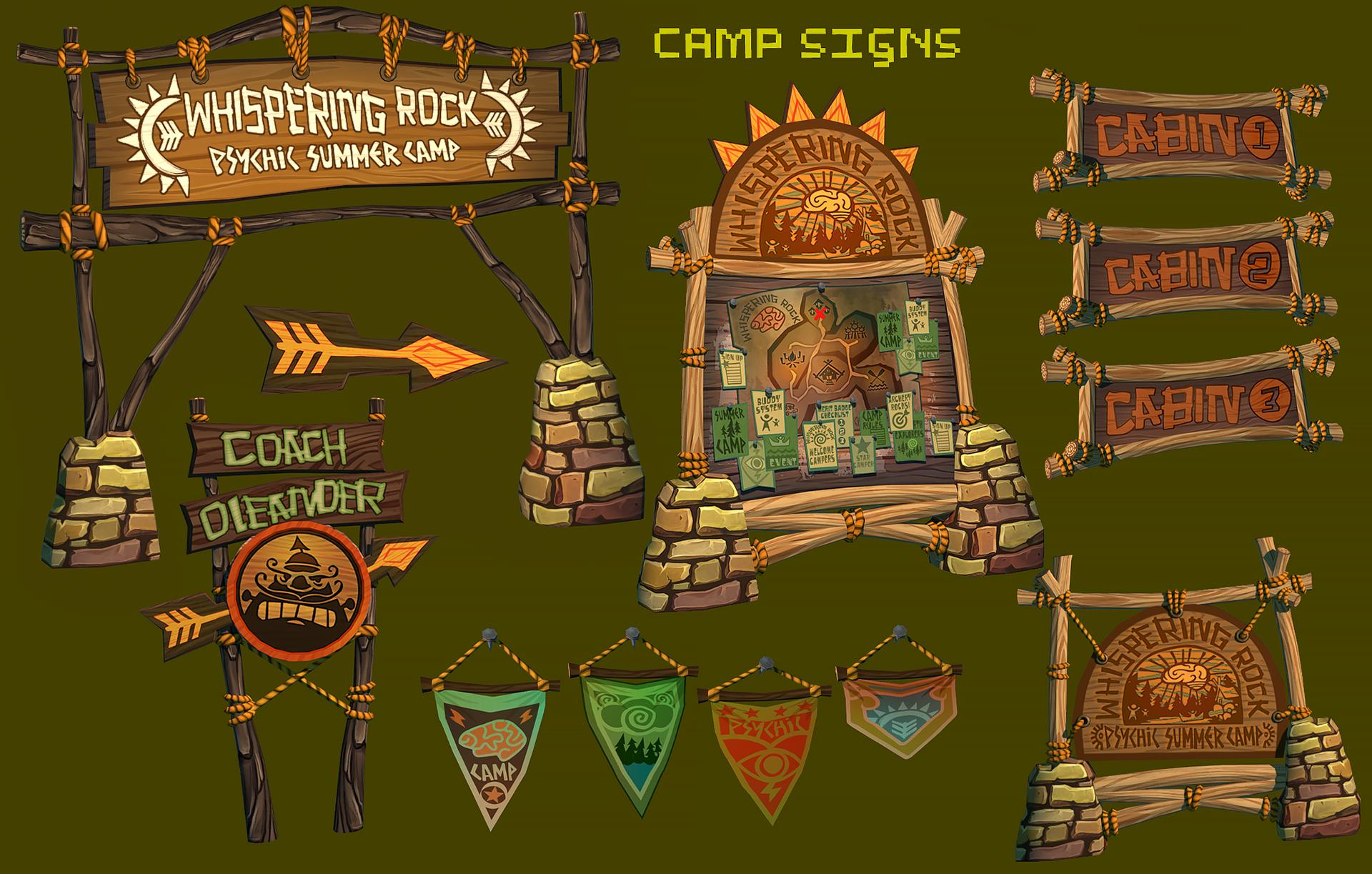 Psychonauts2 Prototype - Camp Signs