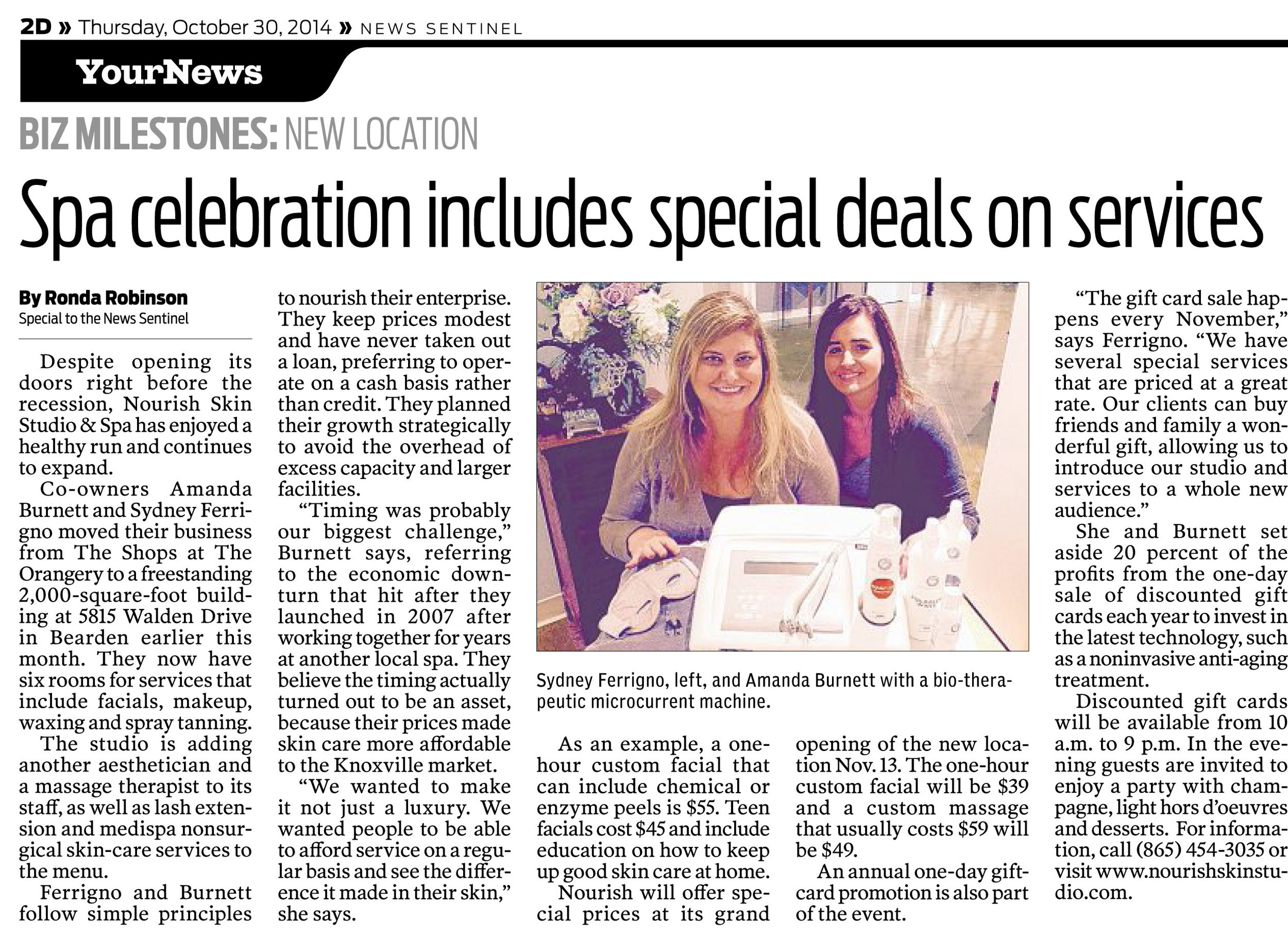 Feature in the Knoxville News Sentinel on October 30, 2014