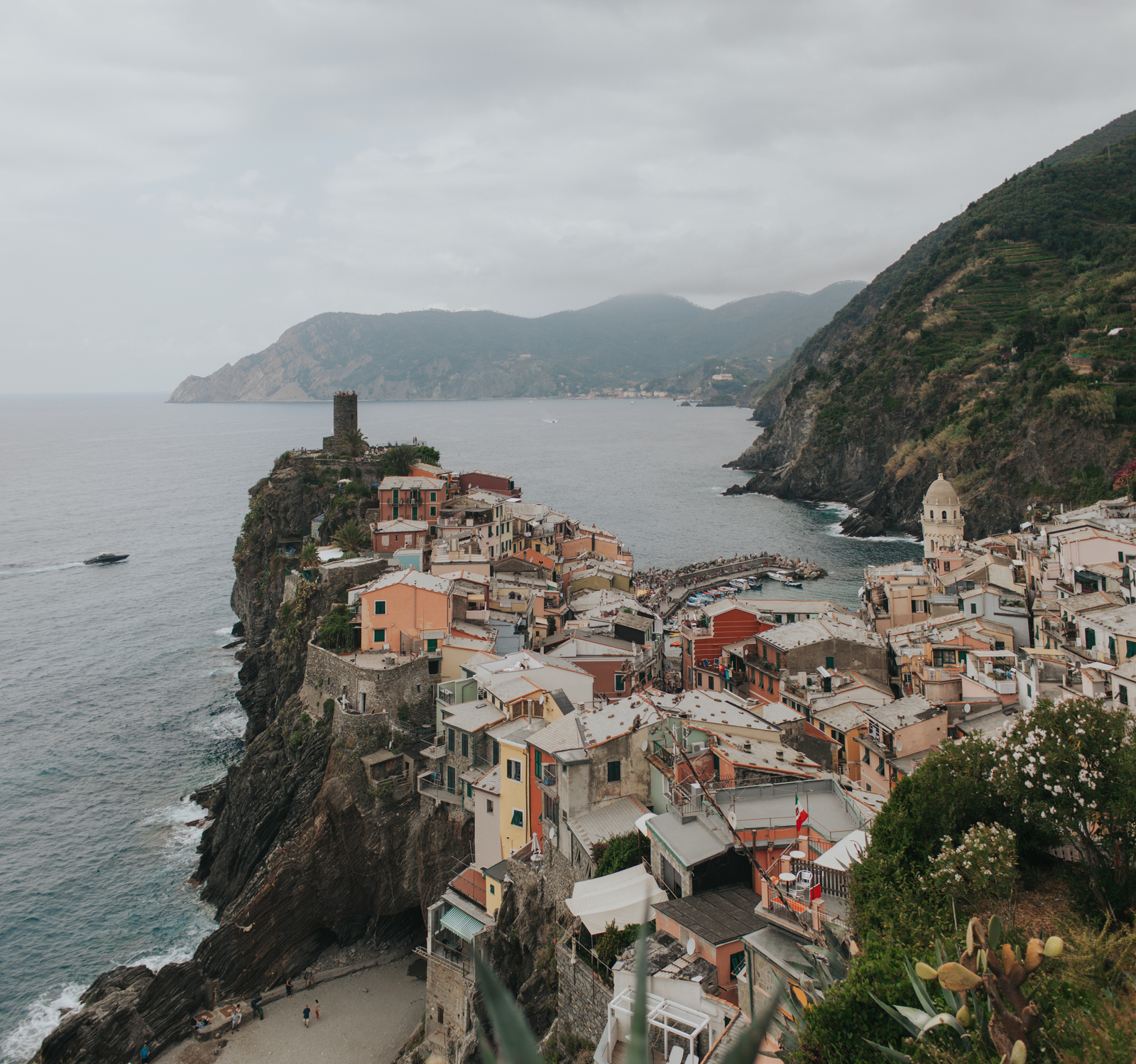 View of Vernazza, Cinque Terre, Italy from the hiking trail above the town.