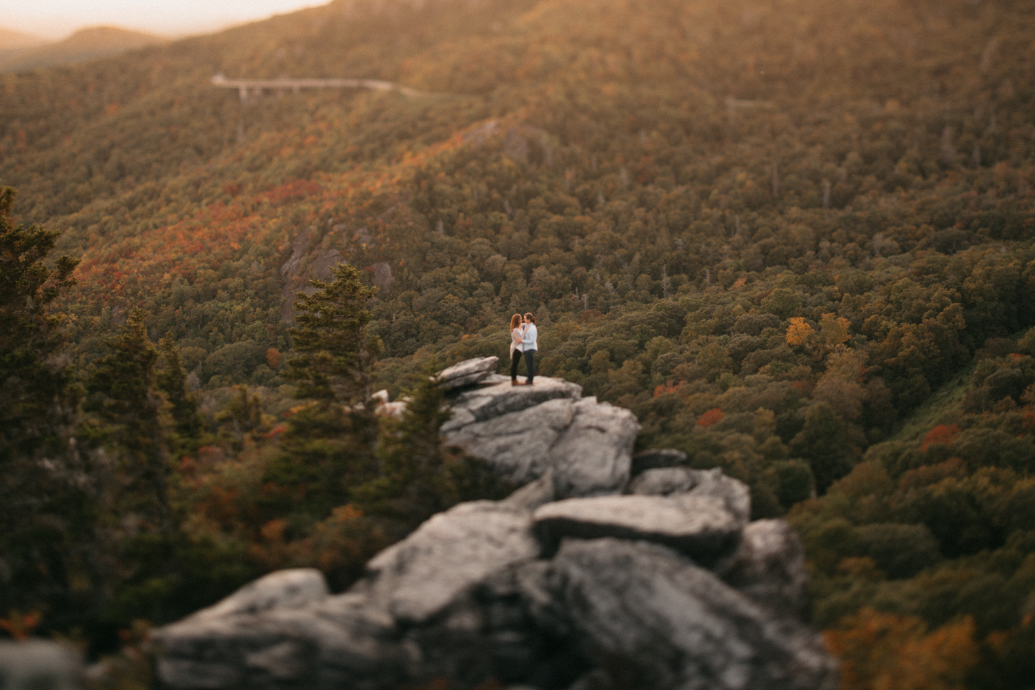 Couple during an engagement session on the Blue Ridge Parkway.
