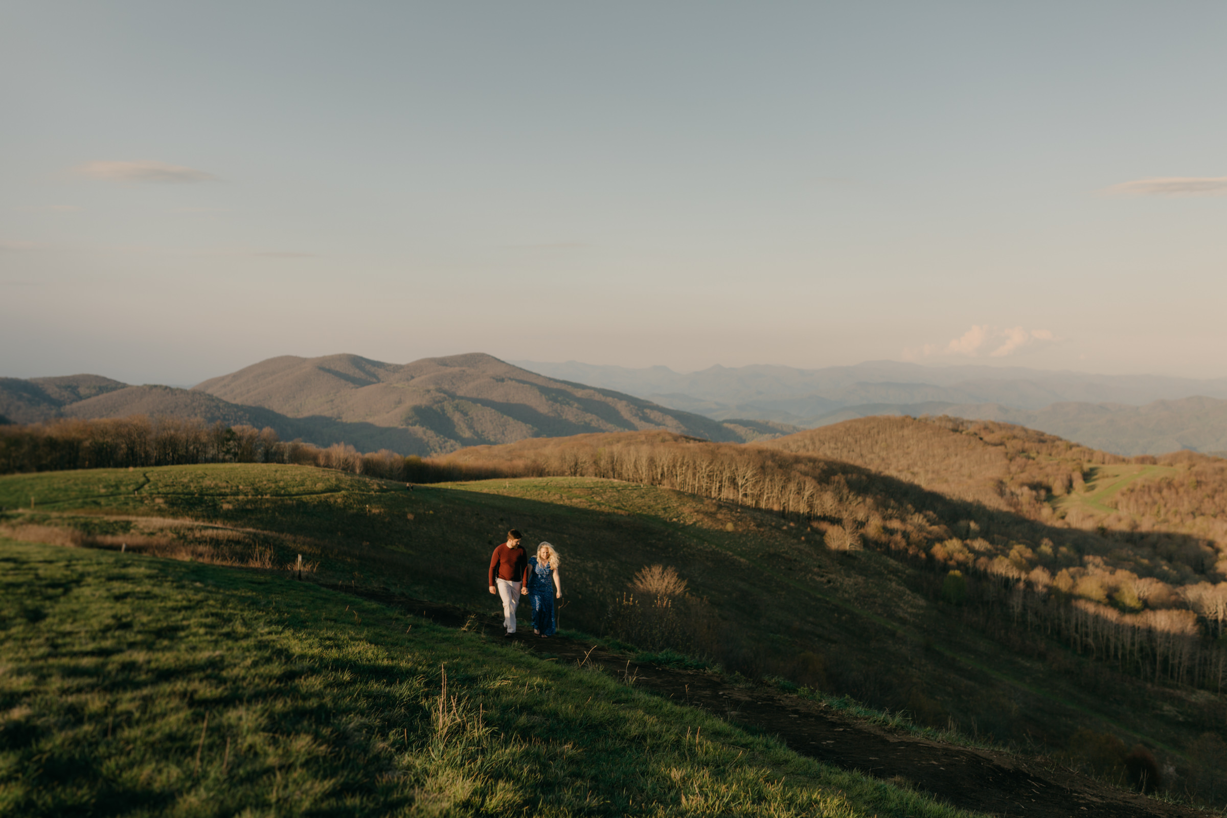 Asheville wedding photographer captures couple at Max Patch near Asheville, NC.