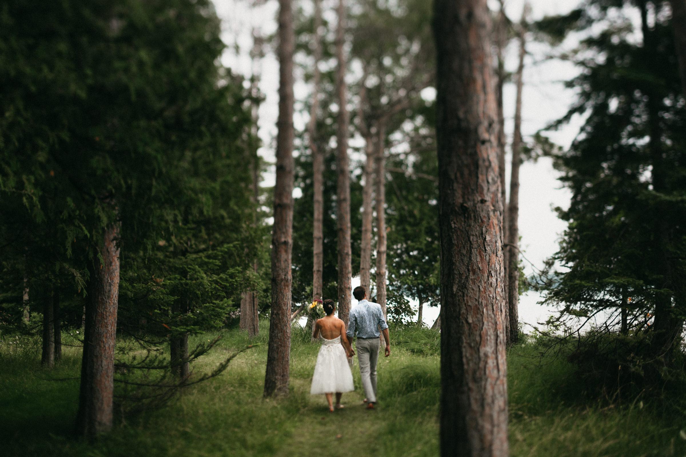 Bride and groom walk through tall pine trees beside Elk Lake in the summertime.