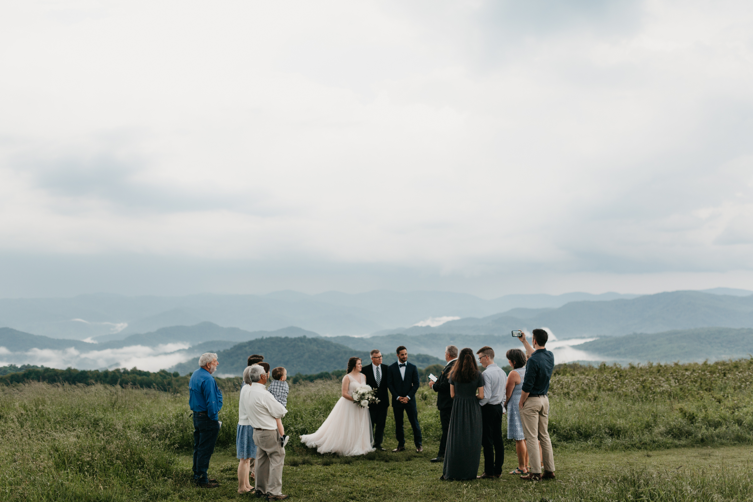 Wedding ceremony at Max Patch on the border of Tennessee and North Carolina.
