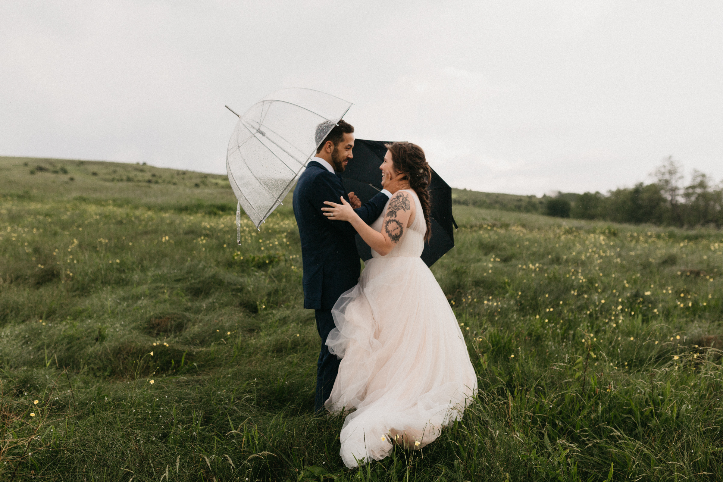 Bride and groom before their wedding on the Appalachian Trail.