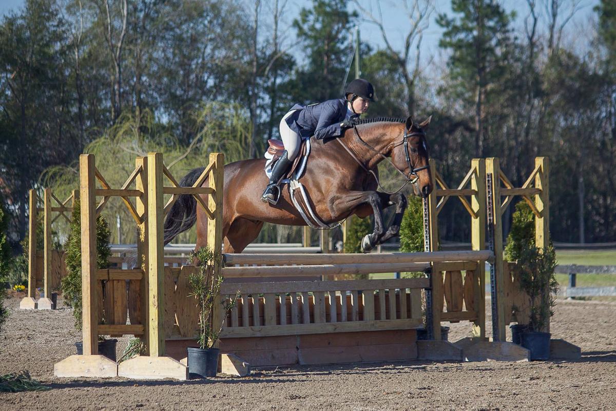 "Laura Critz and Quatrain showed great form in the 3'3"" Junior Hunters."