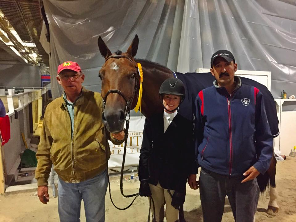 Grace Howard and Bethel's Peri with trainer Jack Towell and groom Alberto Ramirez