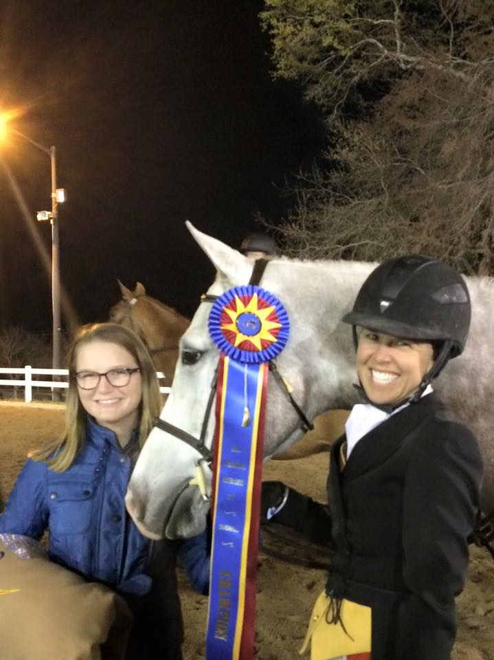 Maddy Thatcher and Liza Boyd celebrate Sterling's USHJA International Hunter Derby debut.