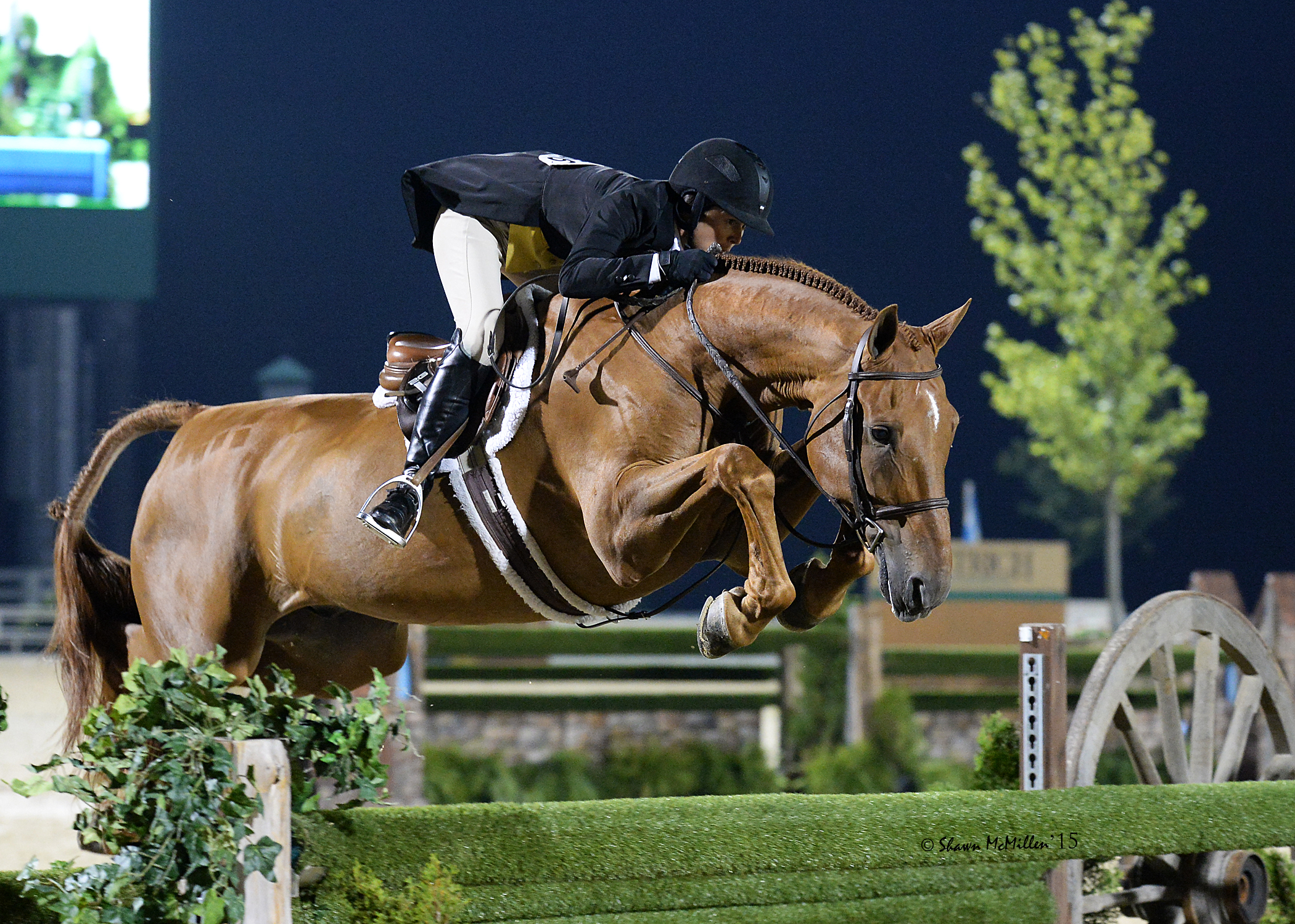 """Liza Boyd and Brunello clear the final 4'9"""" oxer. Shawn McMillen Photography."""