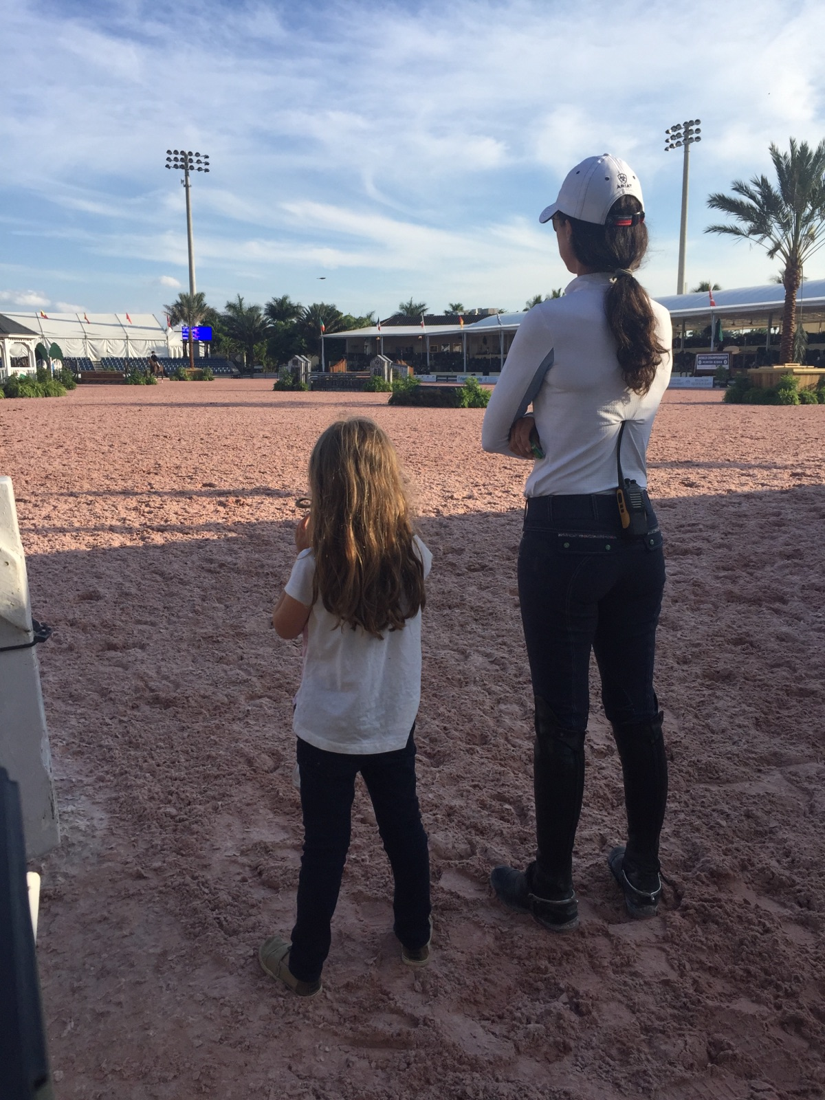 Trainer Liza Boyd and daughter Elle at work.