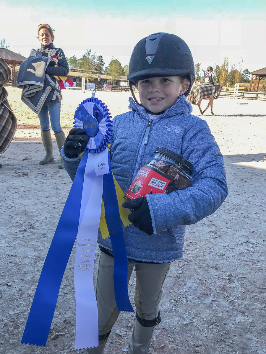 Elle Boyd and her first Classic blue ribbon!