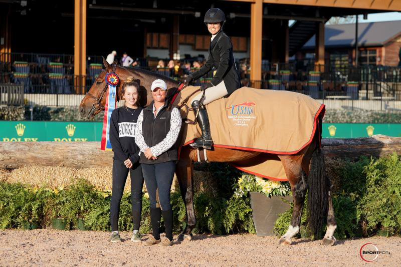 Liza Boyd and Tradition with owner Maggie Hill, left, and Finally Farm's Katie Wood