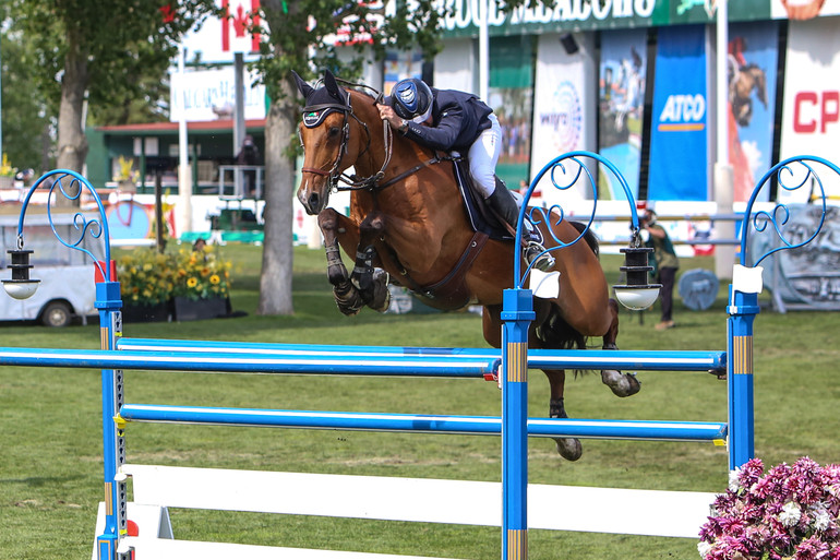 """Hardin Towell and Joli Jumper in the Queen Elizabeth II Cup at Spruce Meadows, where they finished second. """"The only person more excited for me than me on that day of the Queen's Cup was Darragh,"""" Hardin said. Photo: Ryley Ingram/Phelps Media Group"""