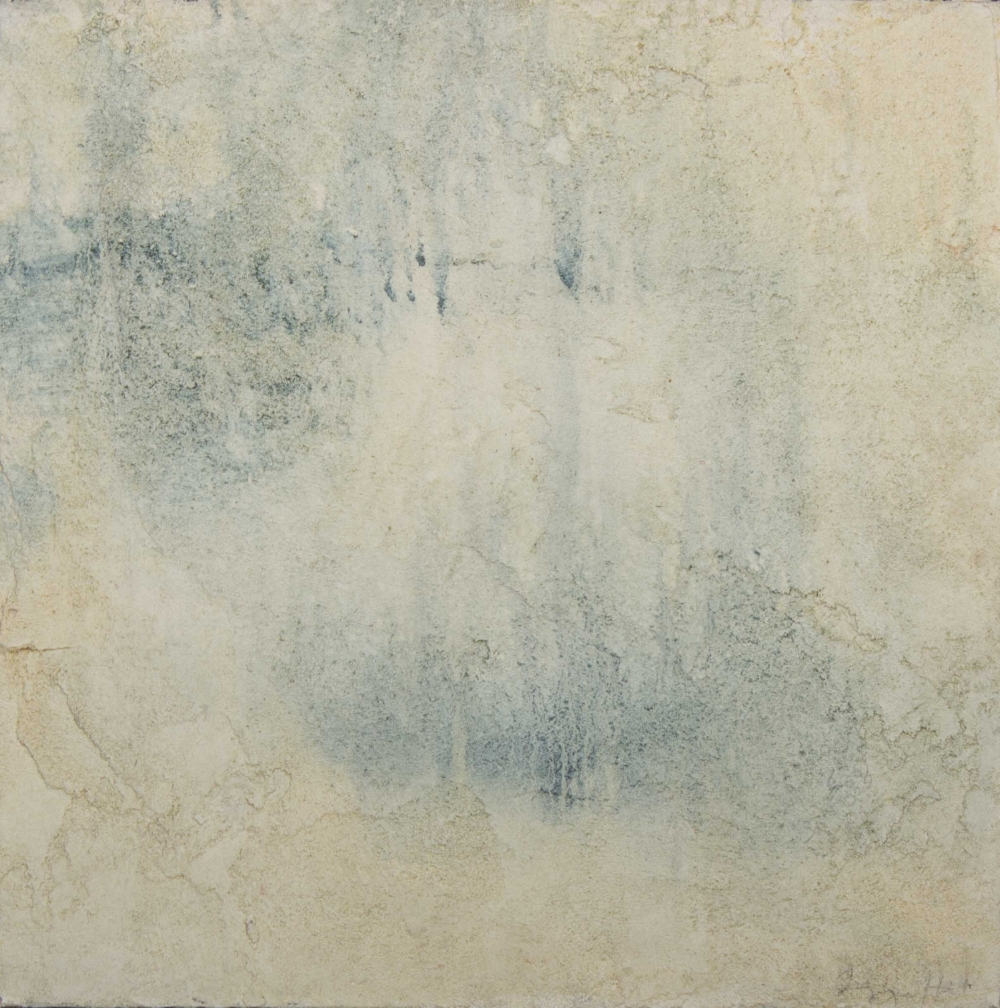 """Plaster on Panel, Natural Pigment Glaze, 18"""" X 18"""", 2018  This is a study for a wall project."""