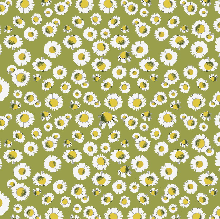 daisy vintage pattern green yellow white.png