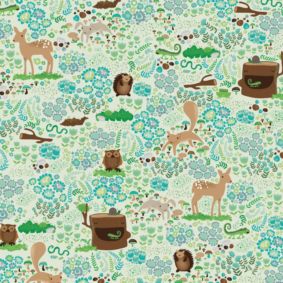 design surface pattern deer squirel owl fern flowers bunny nonna design illustration