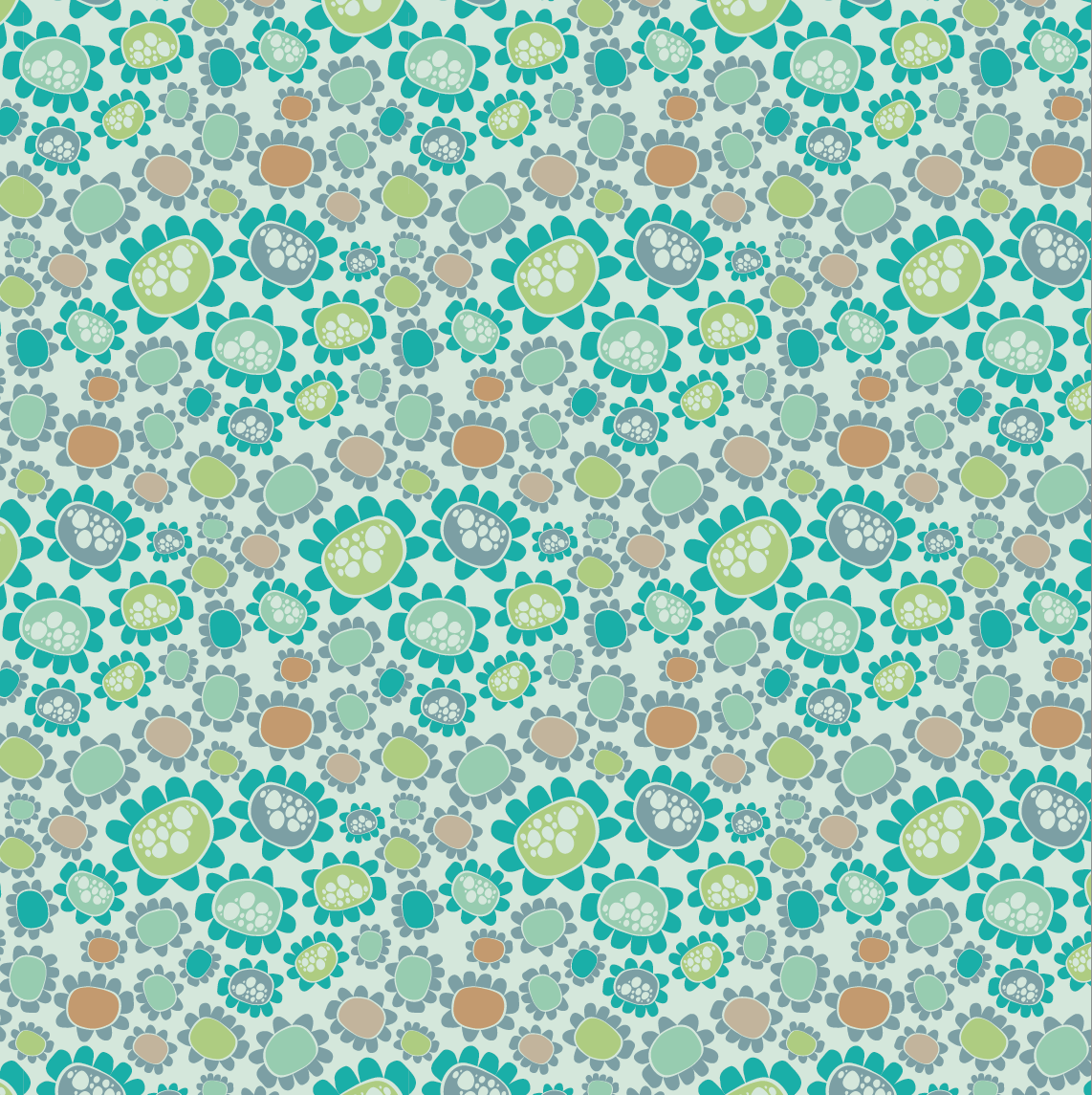 design surface pattern teal flowers nonna design illustration