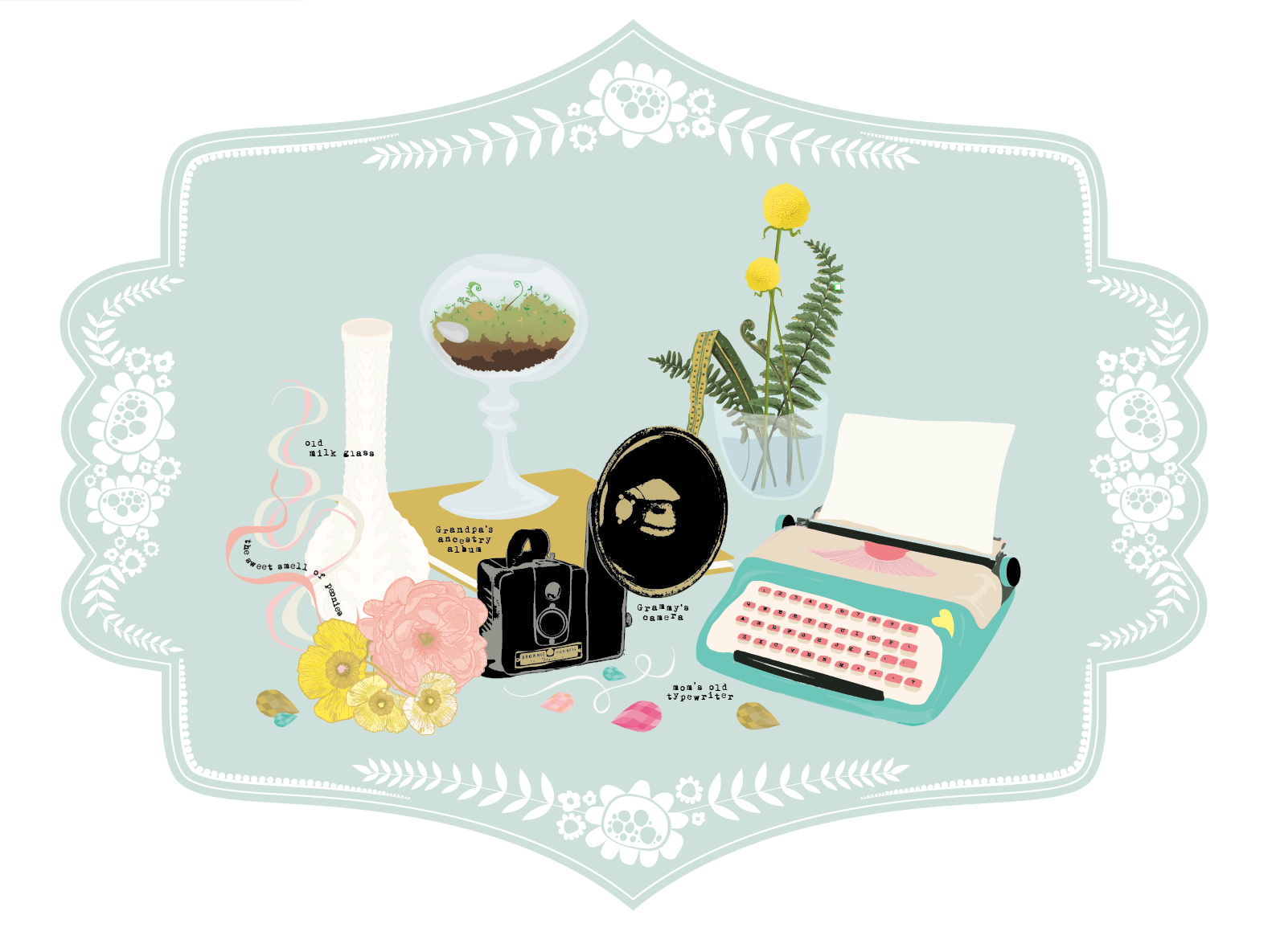 grandmas-house-illustration-peony-camera-milk-glass