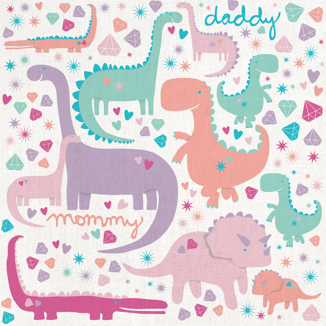 Mommy, Daddy & baby dinosaurs, shut up! I never find anything girlie with dinosaurs and my daughter LOVES them! This is just for her. Rrrrrroooooooaaaaaarrrrrrrrr!