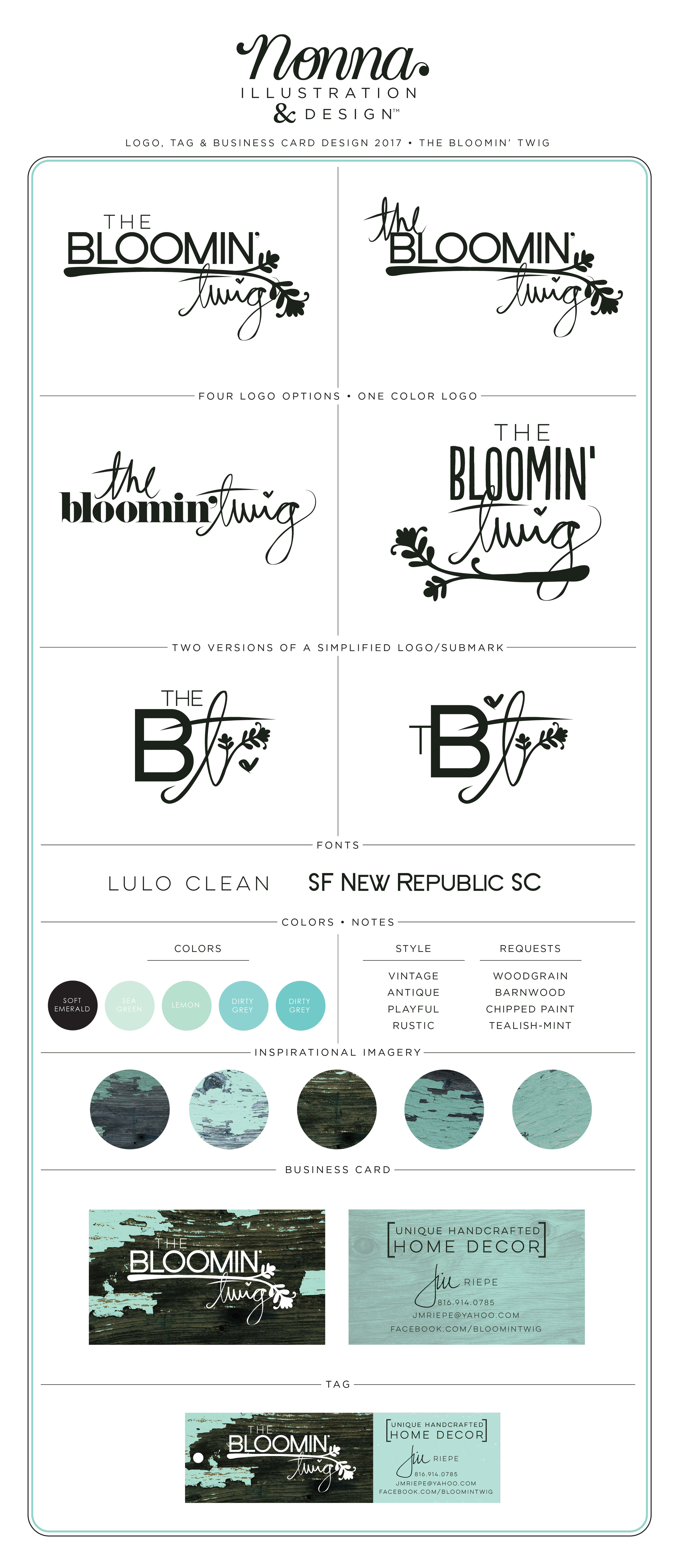 Custom Branding Identity The Bloomin Twig by Nonna Illustration & Design nonnaiandd