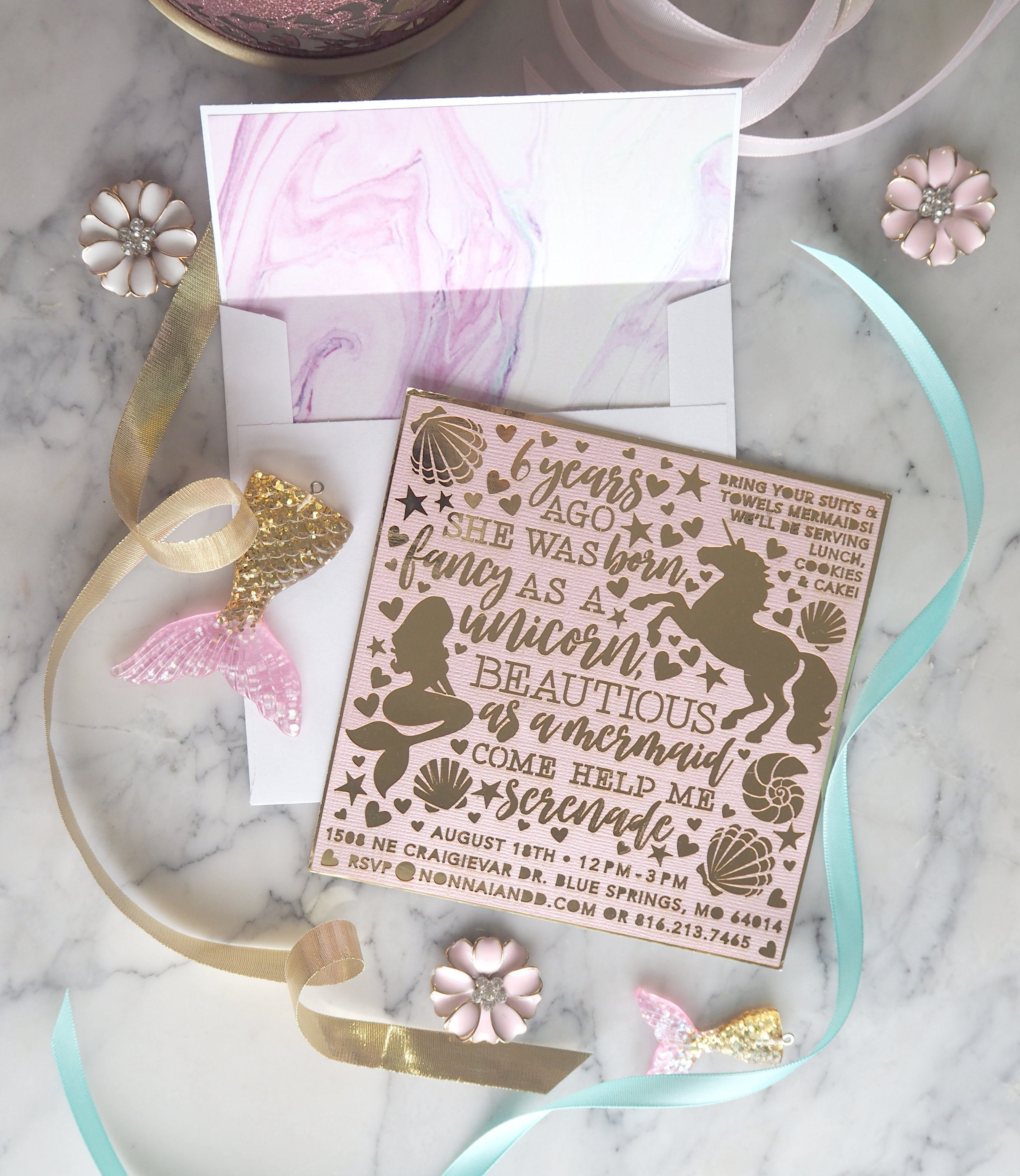 Unicorn Mermaid Laser Cut Party Invitation