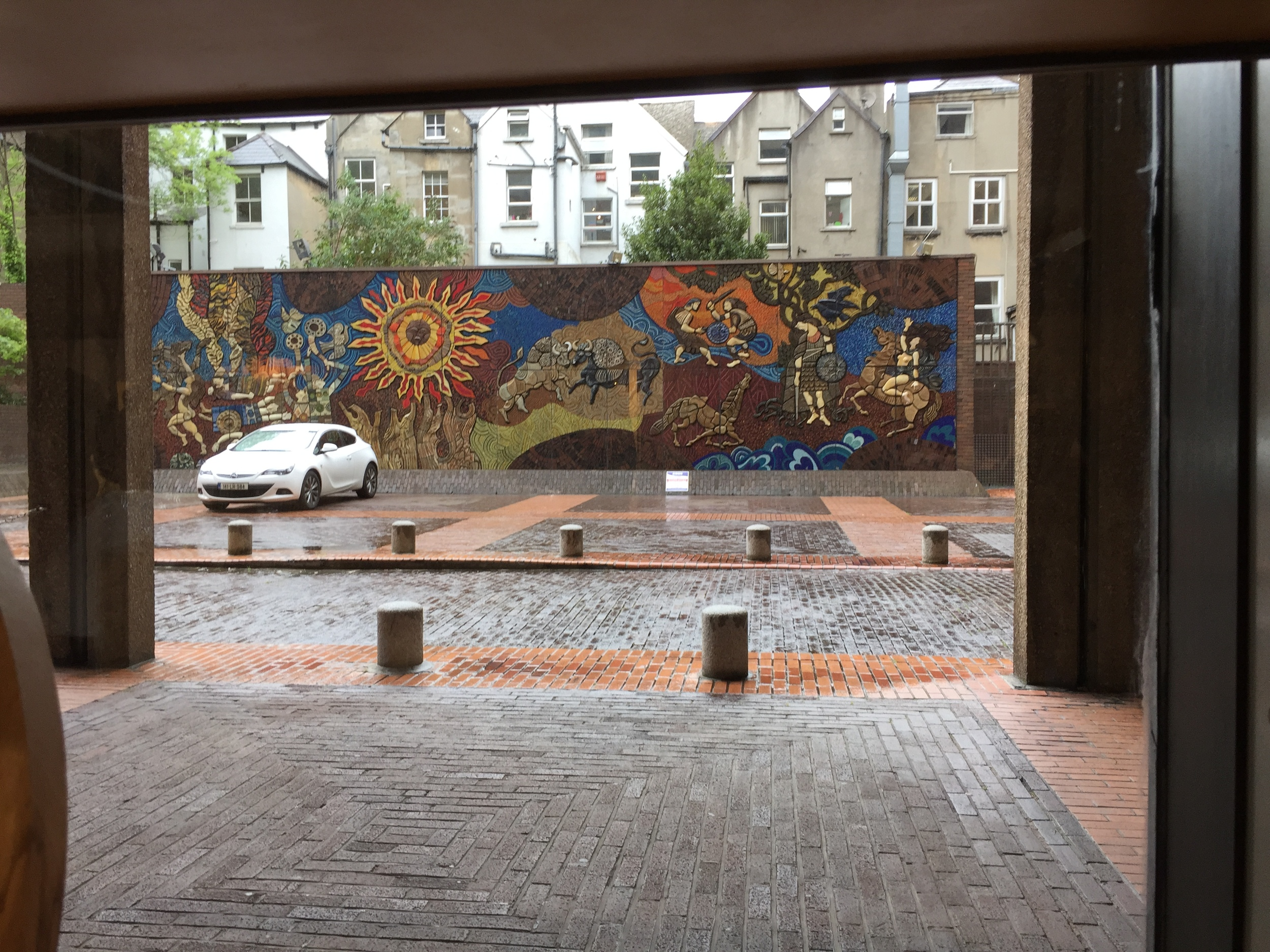 Mural depicting the acts of Irish Hero Cúchulainn in the Táin saga outside Kilkenny Design Centre in Dublin.