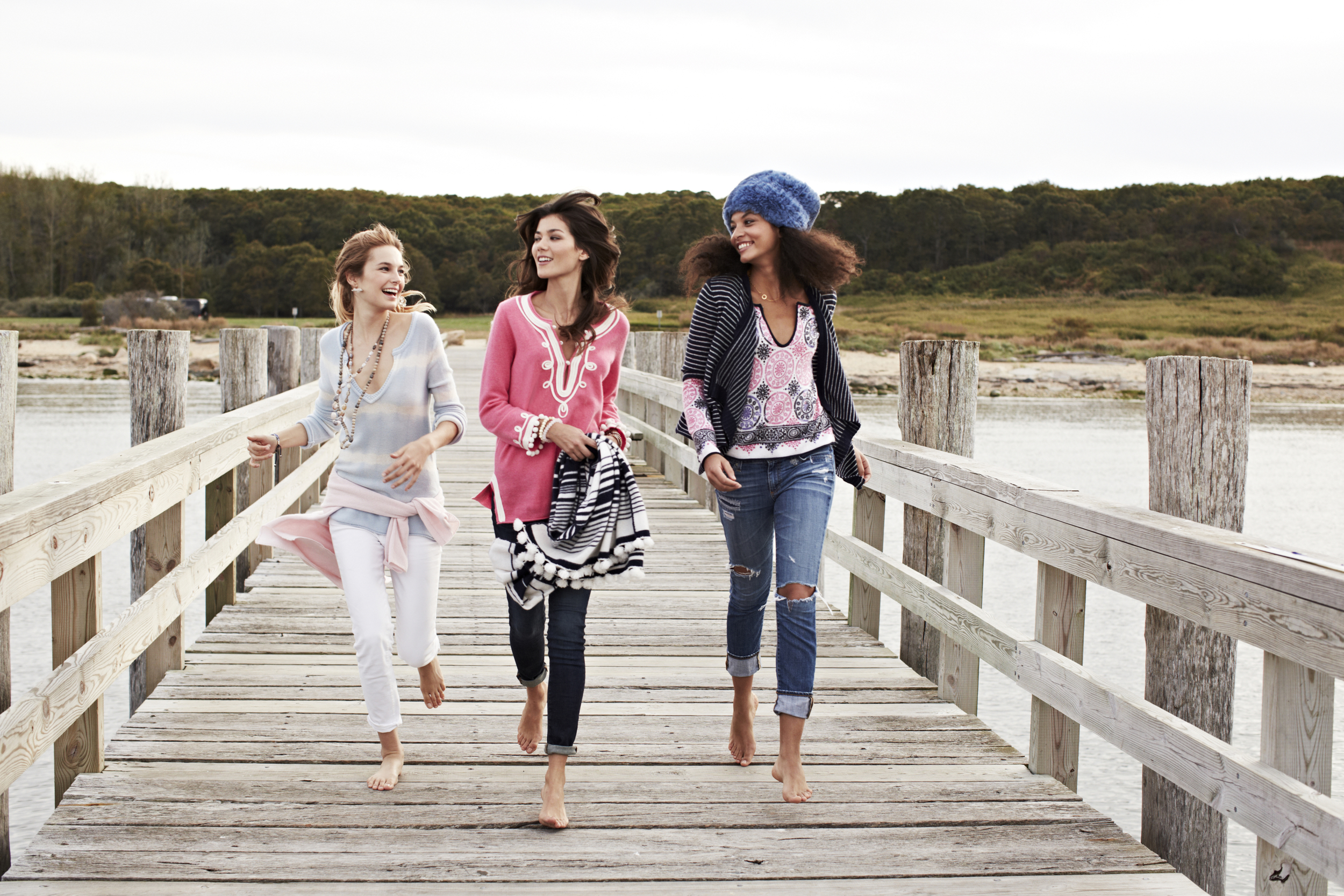photo shoot for calypso st barth in the hamptons on a pier