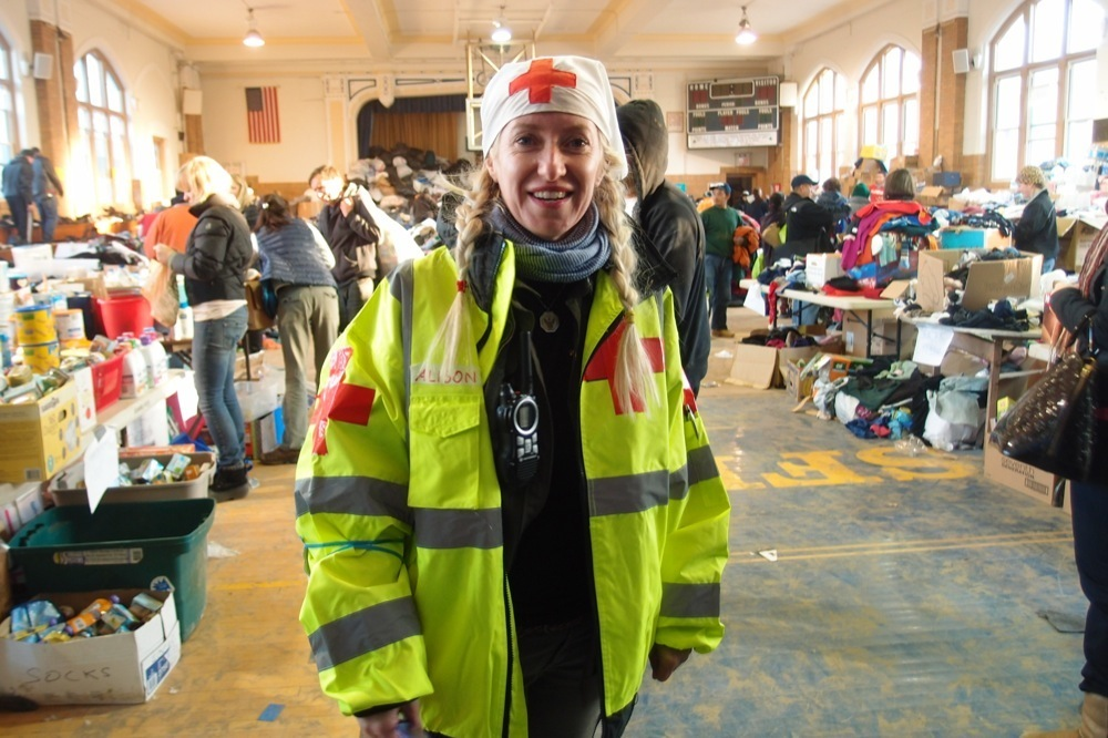 red cross worker in the rockaways during hurricane sandy