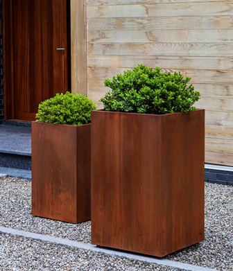 Steel Tall Cube Planter