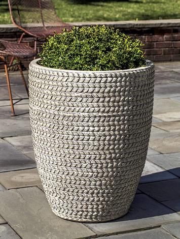 Tall Sisal Weave Planter, Cream
