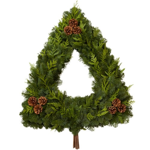 Tree Wreath - Our unique Tree Wreath is made of fresh aromatic Noble Fir, Western Red Cedar, Lodgepole cone clusters and a wood bundle tree trunk. Approximately 28