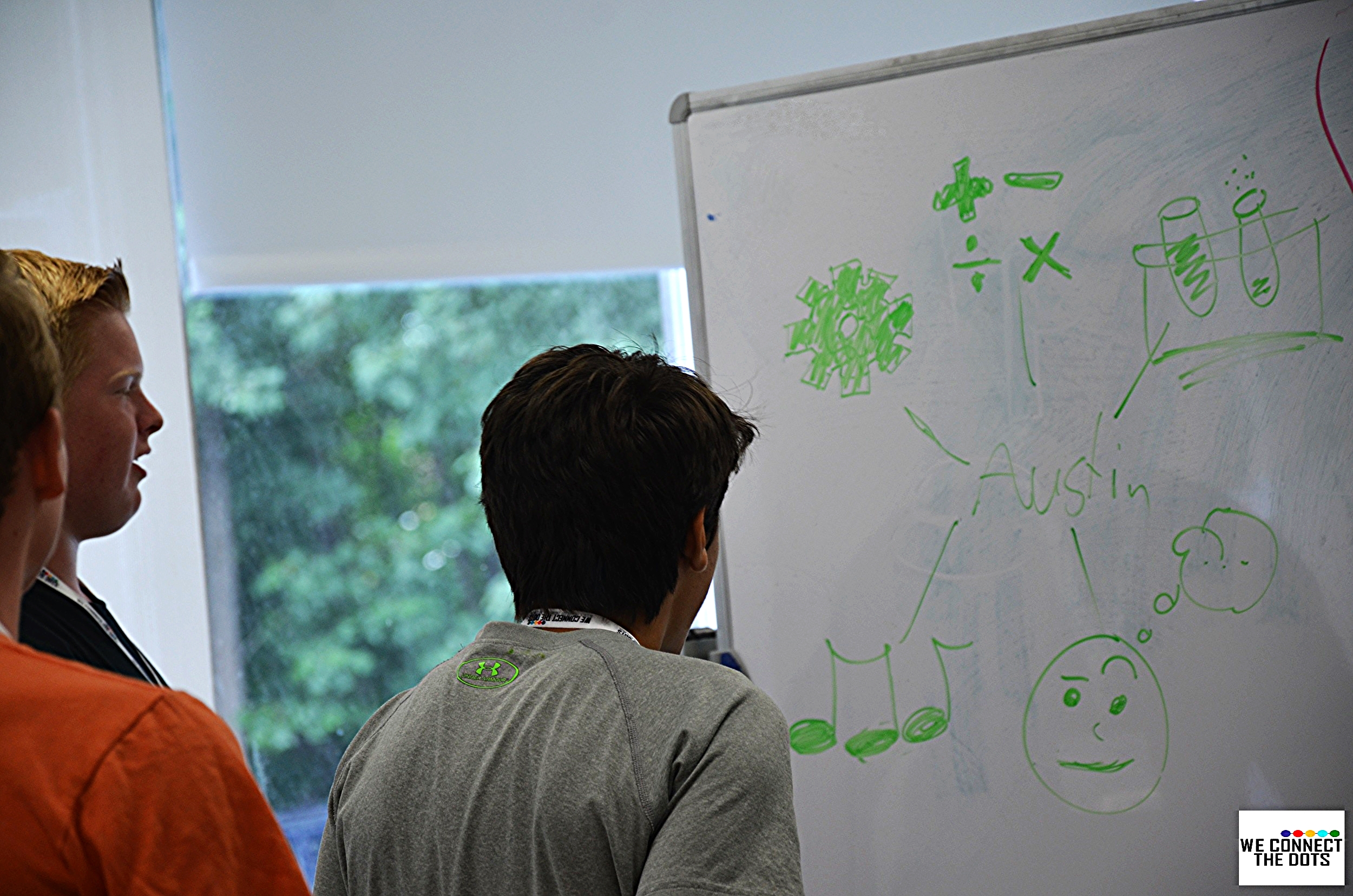 Students complete their hand-drawn mind mapping exercise to introduce themselves to one another.