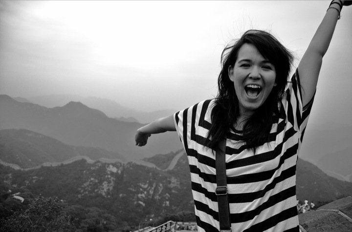 """At the Great Wall of China, minutes before performing """"Vintage Boots"""" in 2010."""