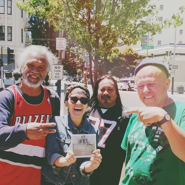 Years later, hanging out with my homeless friends at the release of my new album in downtown San Francisco.