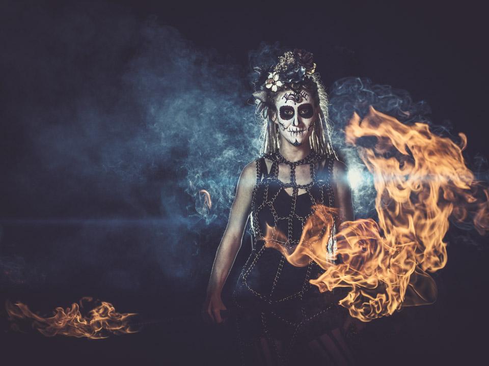 Fire-spinner & aerialist, Zel Tyrant