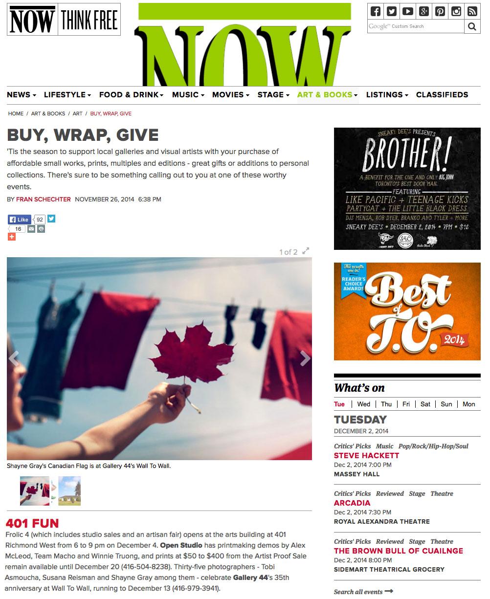 Now Magazine, December, 2014