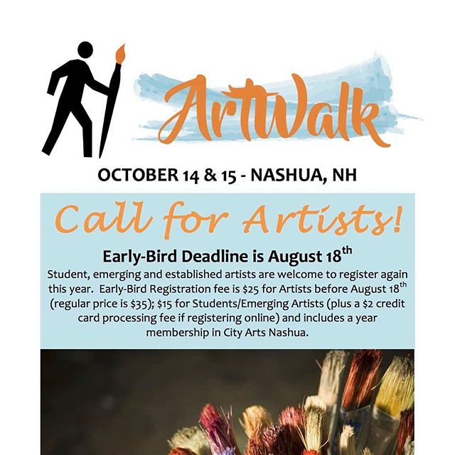Register by August 18 to take advantage of our discounted rates! Student, emerging, and established artists are welcome to register again this year. Early-Bird registration fee is $25 (regular price is $35); $15 for students (plus s $2 credit card processing fee if registering online) and includes a year membership in City Arts Nashua. . . . . . #artwalknashua #downtownnashua #localartist #localart
