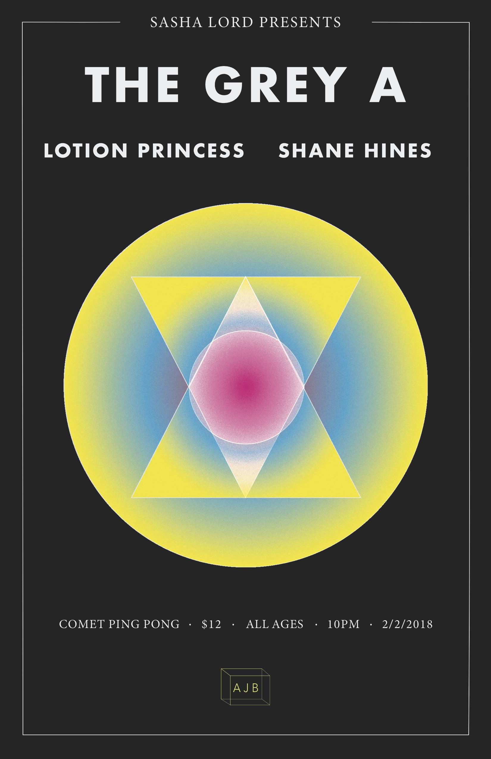 Friday, Feb 2ndComet Ping Pongthe Grey A - w/ Lotion Princess and Shane Hines10pm & all ages$12