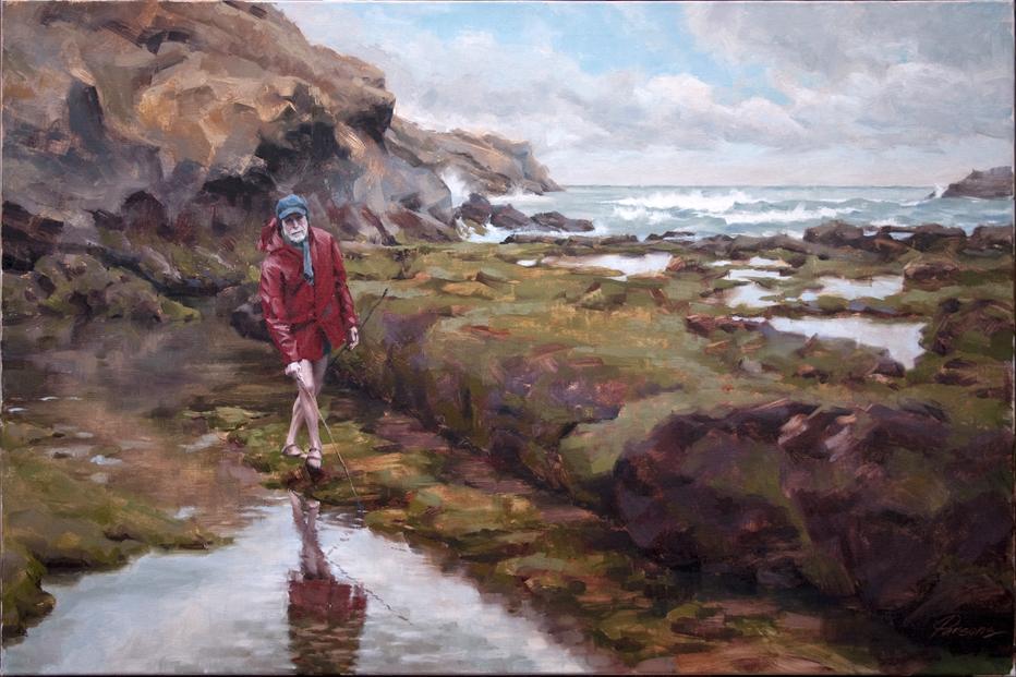 Pêcheur à Marée Basse - 24x36 - oil on belgian linen