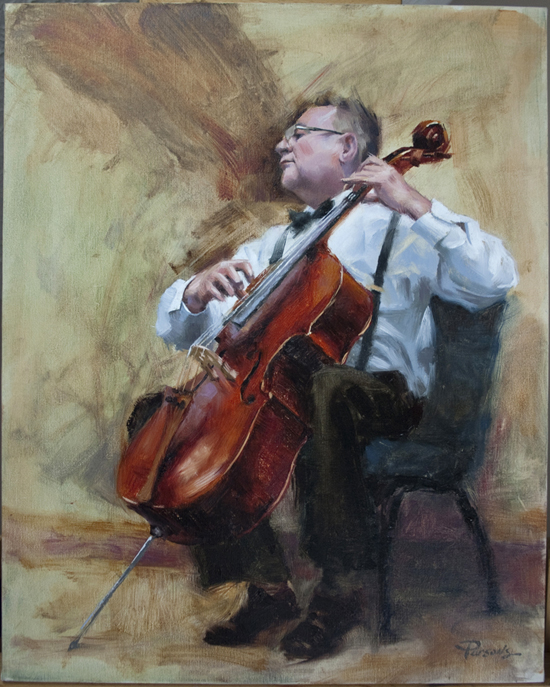The Cellist - 16x20, oil on linen